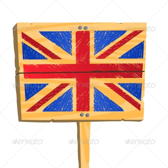 GraphicRiver Wooden Plate with British flag 7555535