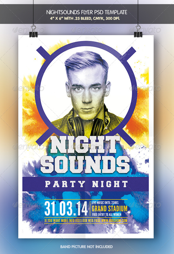 GraphicRiver Night Sounds Party Flyer Template 7555906