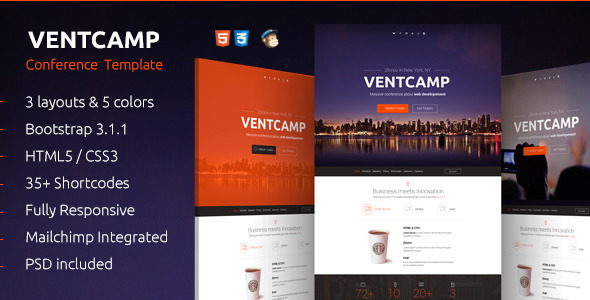 ThemeForest Ventcamp Responsive Conference Landing Page 7555960