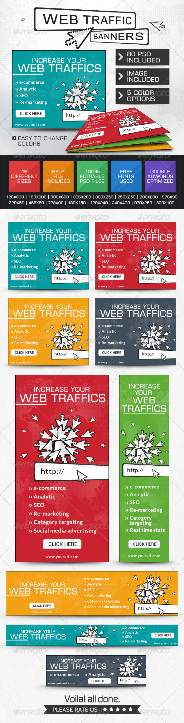 GraphicRiver Web Traffic Banners 5 Colours 7556186