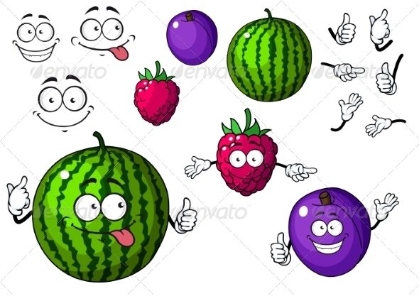 GraphicRiver Fruit Cartoons 7557229