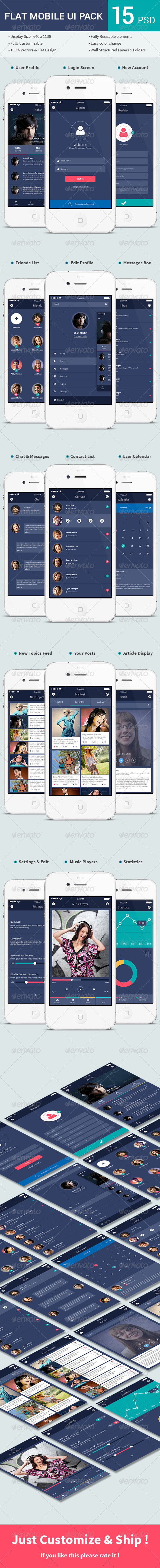 GraphicRiver Flat Mobile UI Pack 7557263