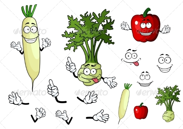GraphicRiver Vegetable Cartoons 7557273
