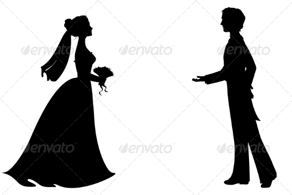 GraphicRiver Bride and Groom Silhouettes 7559335