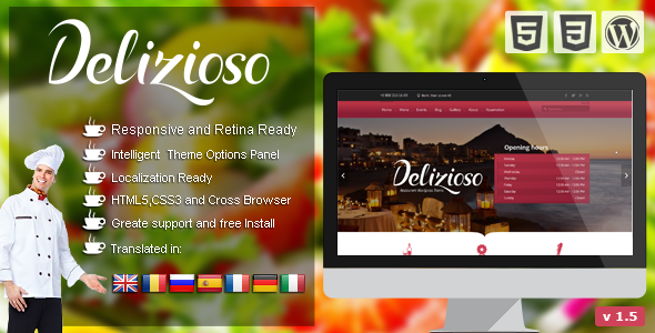 Delizioso Restaurant Responsive WordPress Theme - Restaurants & Cafes Entertainment