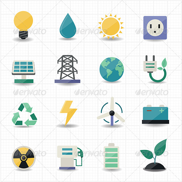 GraphicRiver Power Energy Icons White Background 7560036