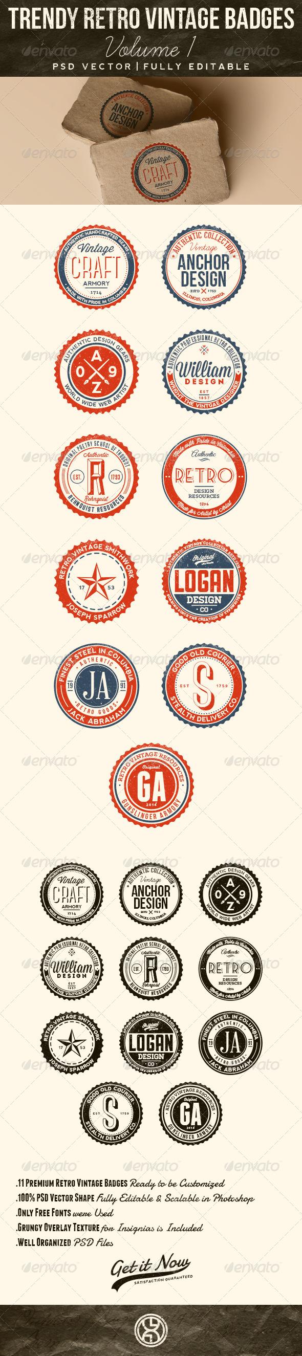 GraphicRiver Trendy Retro Vintage Badges Volume 1 7560715