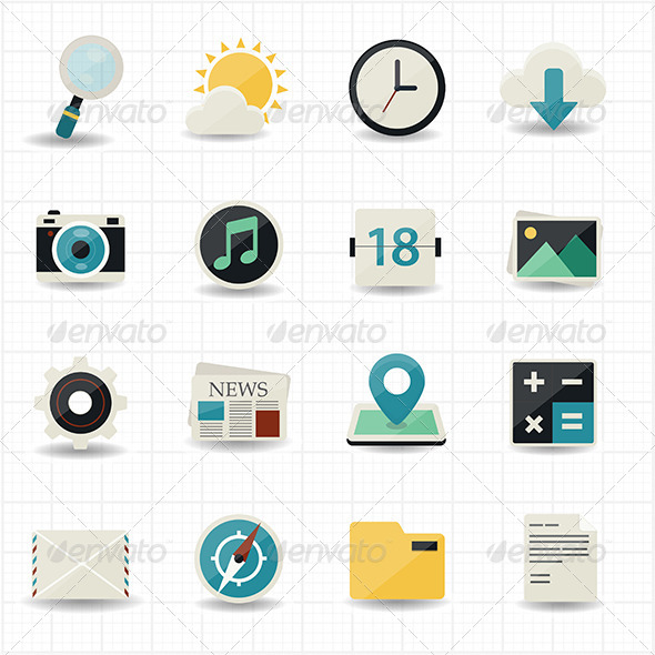GraphicRiver Web Internet Icons and Mobile Icons with White Bac 7561043