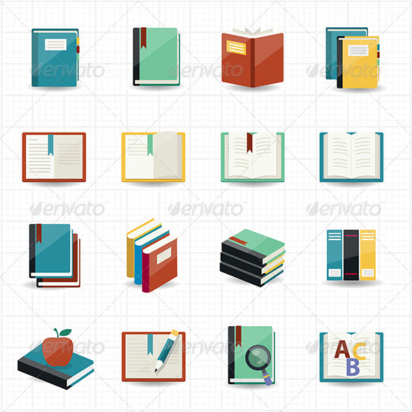 GraphicRiver Books Icons and Library Icons 7561255