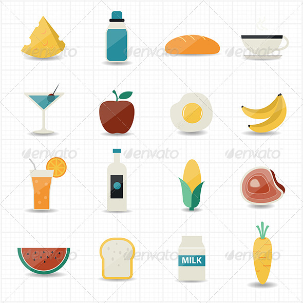 GraphicRiver Food and Drink Icons with White Background 7561273