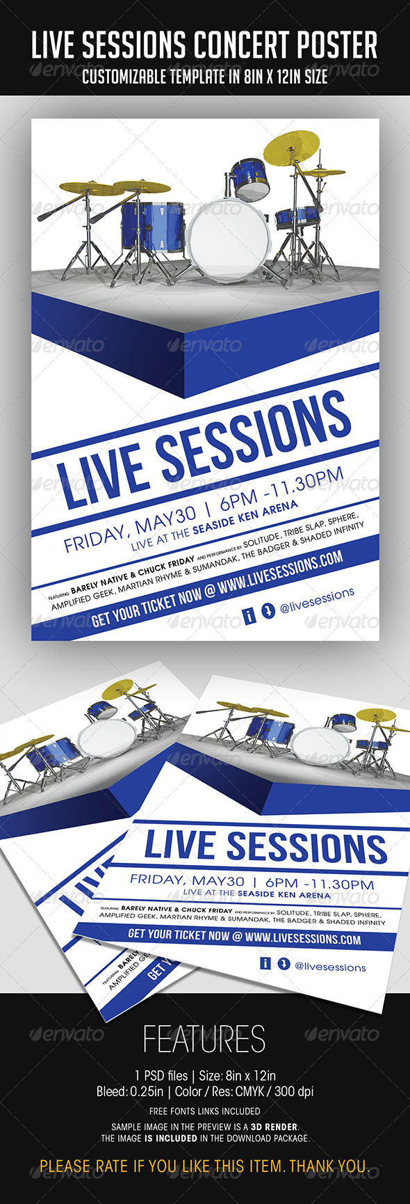 GraphicRiver Live Session Concert Poster 7550991