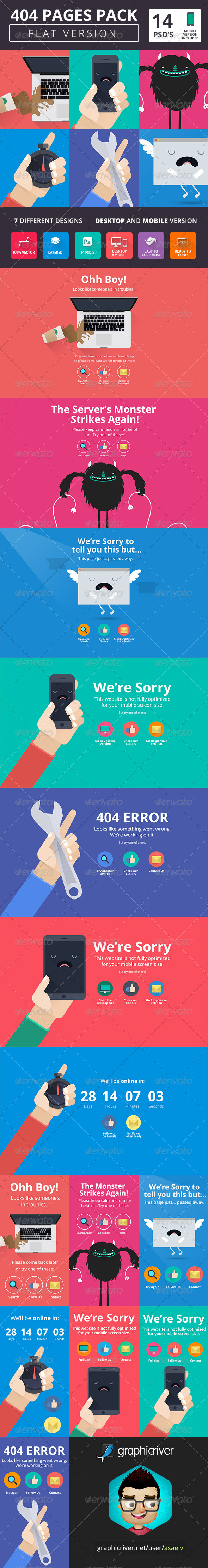 GraphicRiver 404 Pack Flat Style 7536622