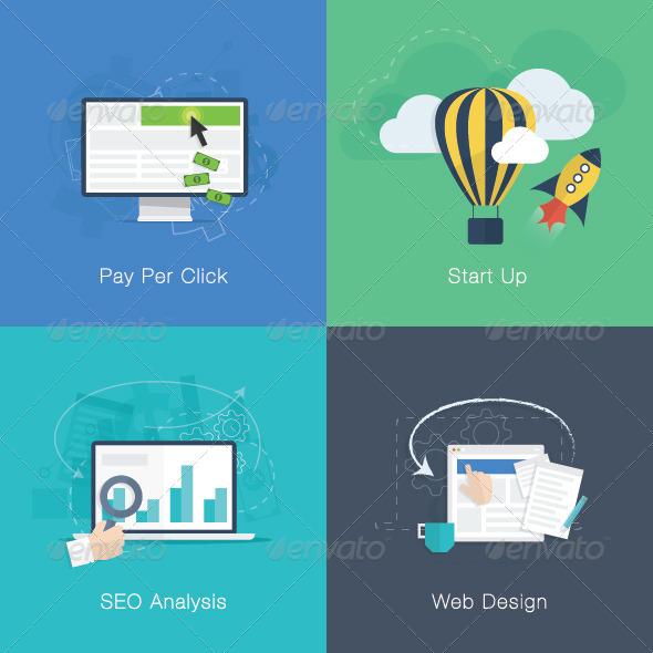GraphicRiver Flat Web Development Business Concepts Vector Set 7562593
