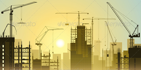 GraphicRiver Construction Site with Tower Cranes 7563025