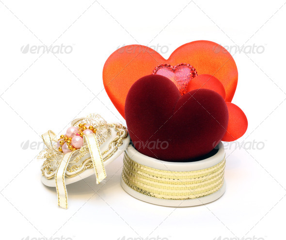 valentine day - few hearts in open box - Stock Photo - Images