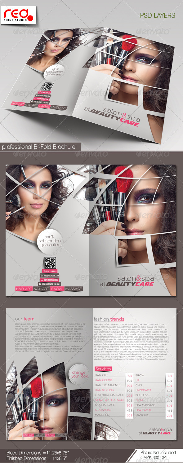 Beauty Care & Salon Bi-fold Brochure Template - Catalogs Brochures