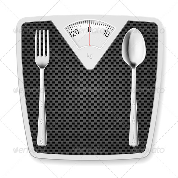 GraphicRiver Bathroom Scales with Fork and Spoon 7563359