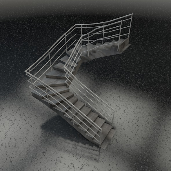 U-shape stairs - 3DOcean Item for Sale