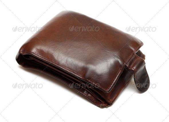 brown leather bulging purse - Stock Photo - Images