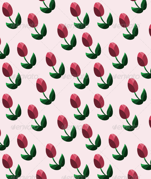 GraphicRiver Seamless Pattern with Red Tulips 7564280