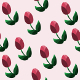 Seamless Pattern with Red Tulips