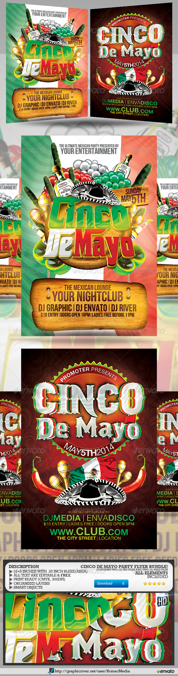 GraphicRiver Cinco De Mayo Party Flyer Bundle 7564283