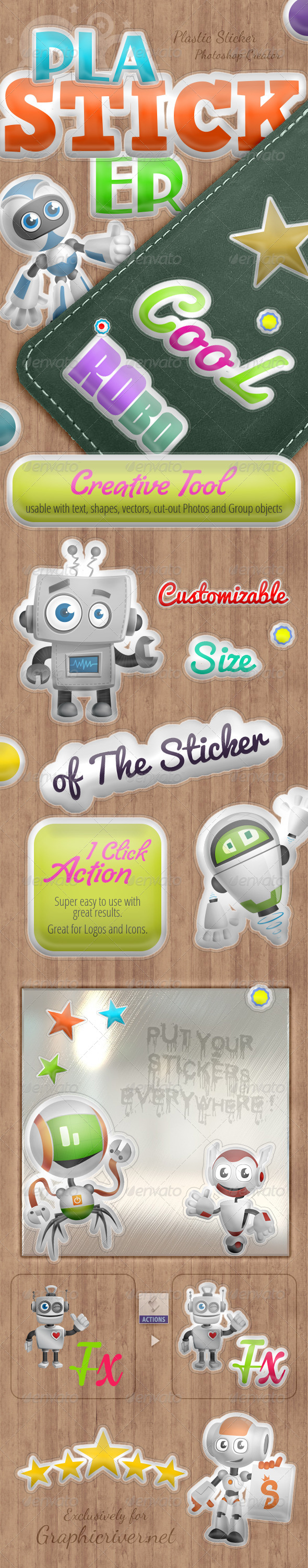 GraphicRiver Plasticker Photoshop Action 7564295