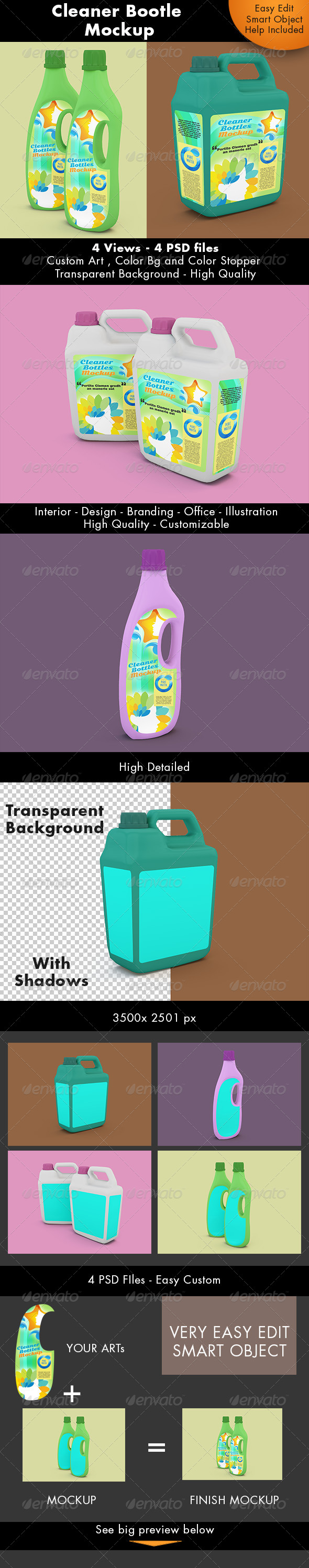 GraphicRiver Cleaner Bottle Mockup 7564423