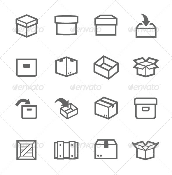 GraphicRiver Box and Crates Icons 7564457