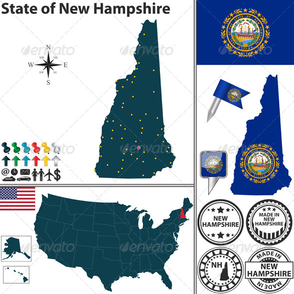 GraphicRiver Map of State New Hampshire USA 7564487