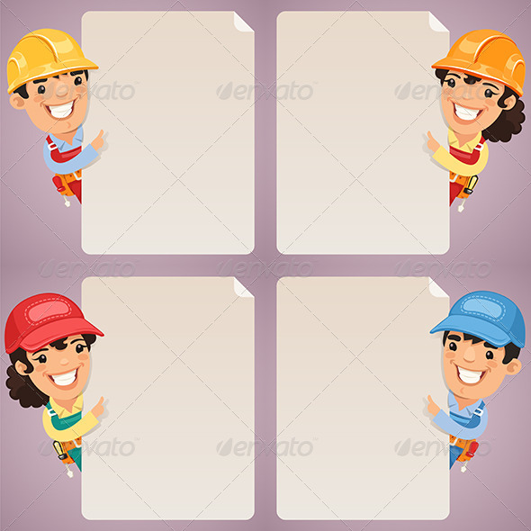 GraphicRiver Builders Cartoon Characters Looking at Blank Poster 7564140