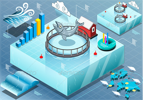 GraphicRiver Isometric Infographic of Sea Farmed Fish 7564711