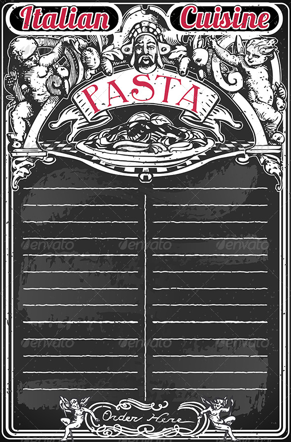 GraphicRiver Vintage Blackboard for Italian Pasta Menu 7565014