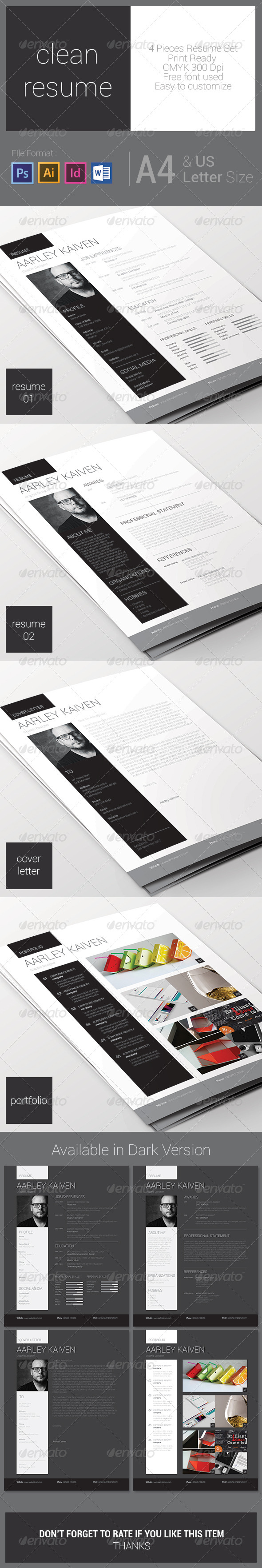 GraphicRiver Clean Resume Set 7565186