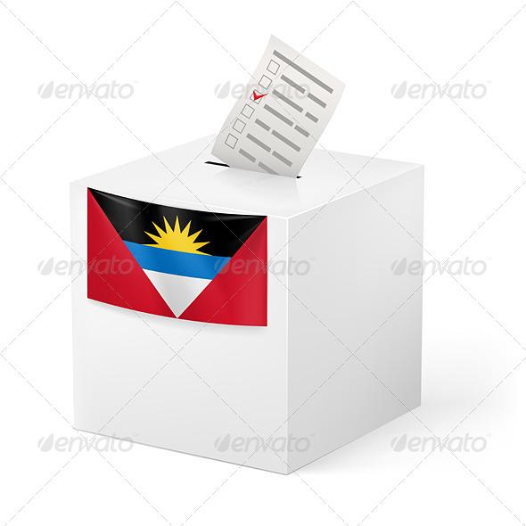 GraphicRiver Ballot Box with Voting Paper Antigua and Barbuda 7566235