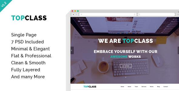 TOPCLASS - OnePage Creative PSD Template - Creative PSD Templates
