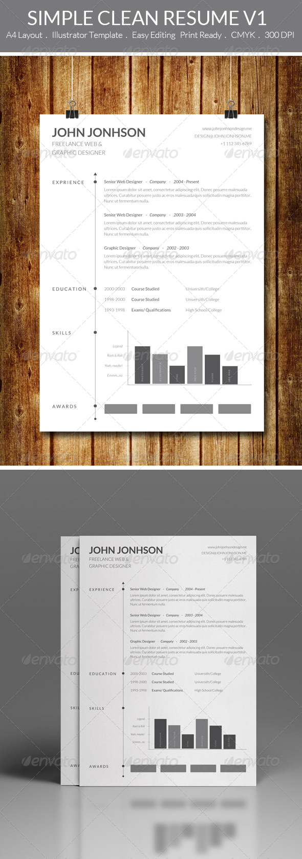 GraphicRiver Simple Clean Resume V1 7566265