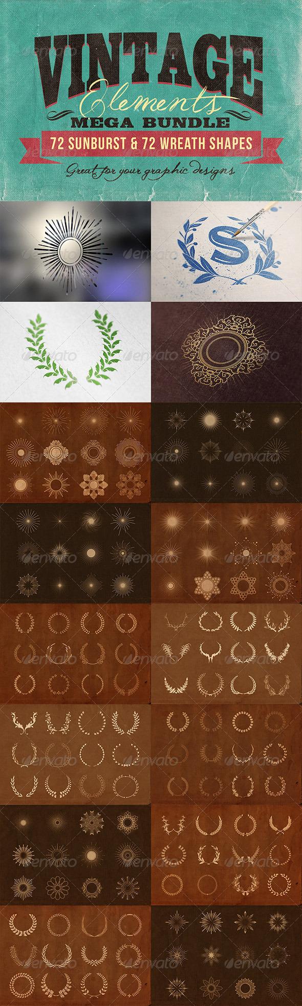 GraphicRiver Vintage Elements Bundle 7566304