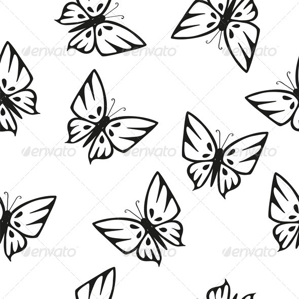 GraphicRiver Butterflies Silhouettes Seamless Texture 7566373