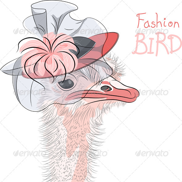 GraphicRiver Fashion Ostrich Bird in a Hat 7568417