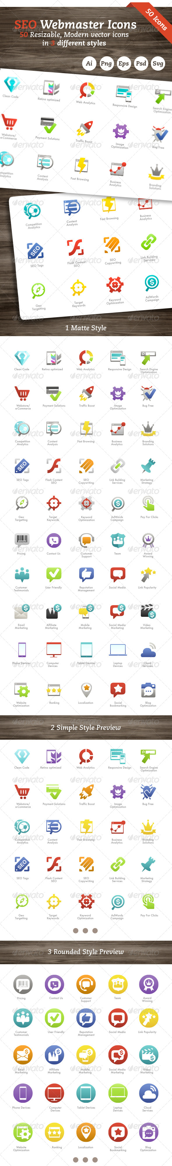 GraphicRiver SEO Webmaster Icons 7568772