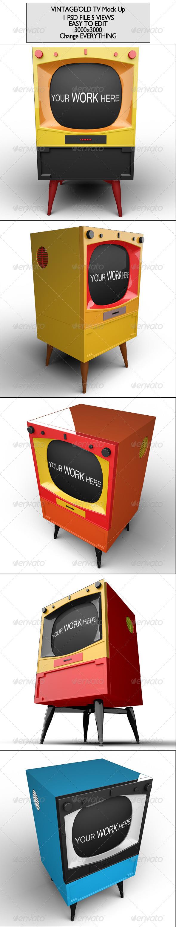 GraphicRiver Vintage Tv set Mock Up 7568802