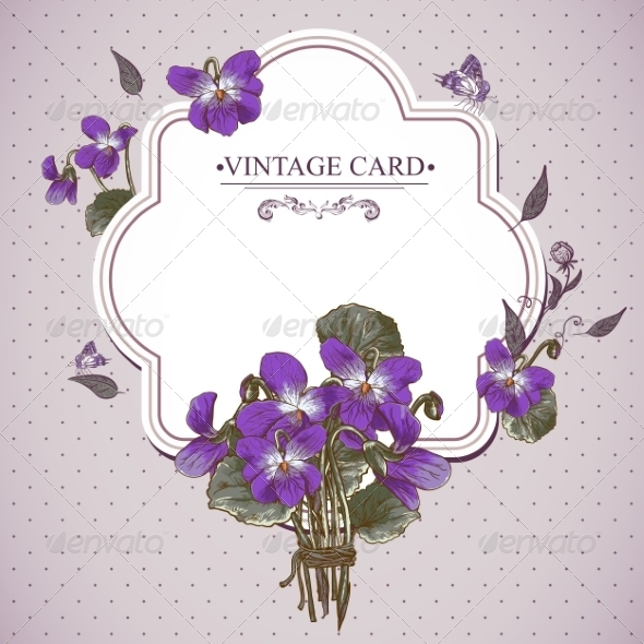 GraphicRiver Vintage Floral Card with Violets and Butterflies 7569004