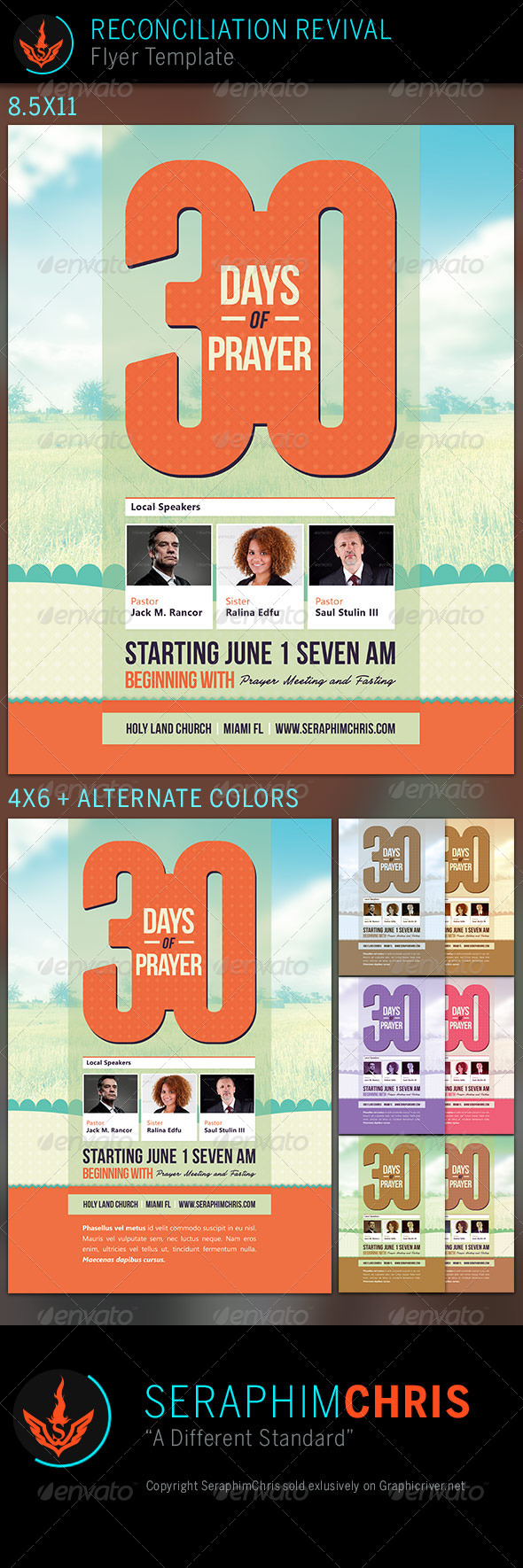 GraphicRiver 30 Days of Prayer Church Flyer Template 7569006