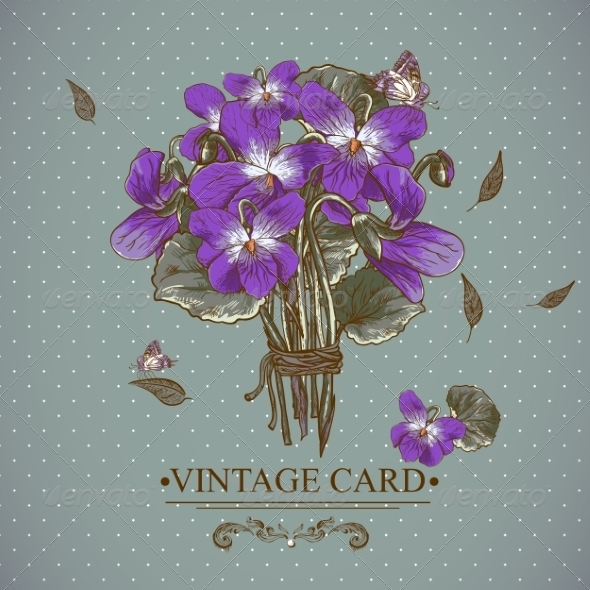 GraphicRiver Vintage Floral Card with Violets and Butterflies 7569009