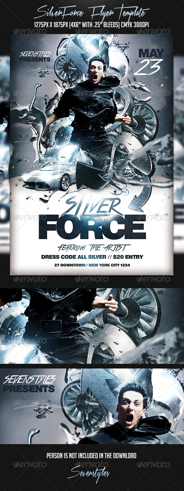Silver Force Flyer Template - Flyers Print Templates