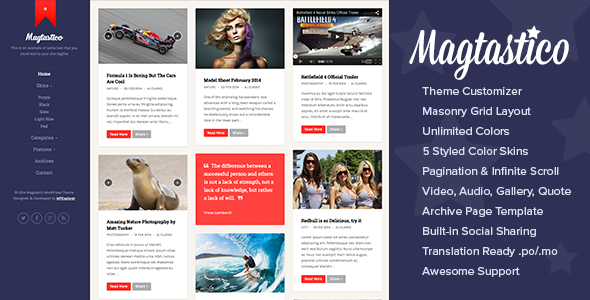 Magtastico Responsive Masonry Blog WordPress Theme - Personal Blog / Magazine