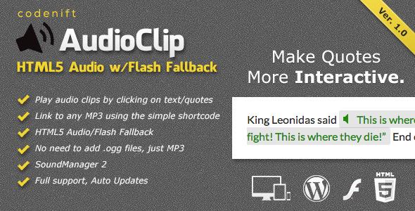 CodeCanyon AudioClip HTML5 Audio Player WordPress Plugin 7569782