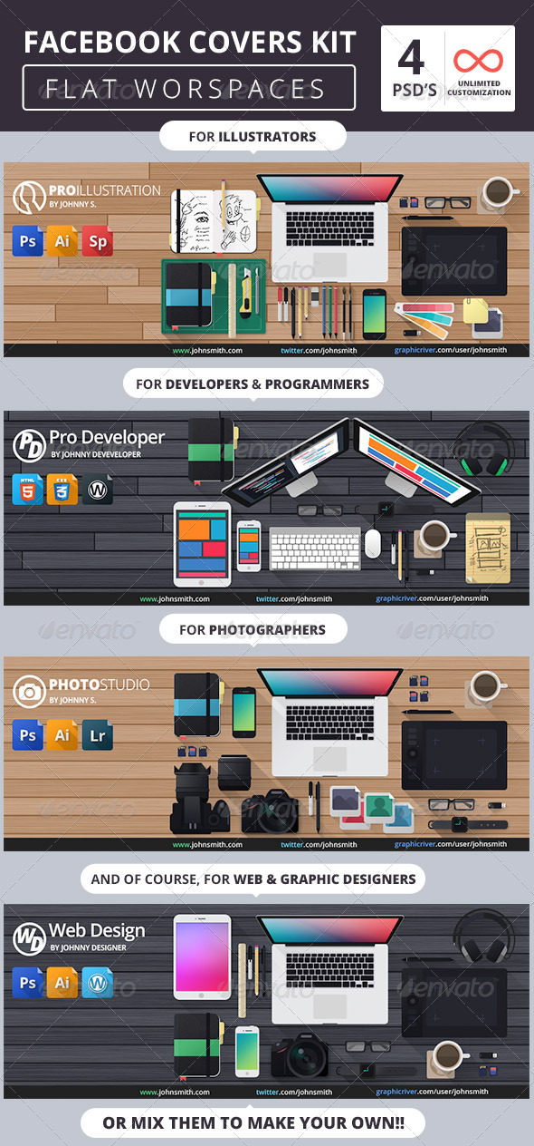 GraphicRiver Facebook Covers Kit Flat Workspaces 7570193