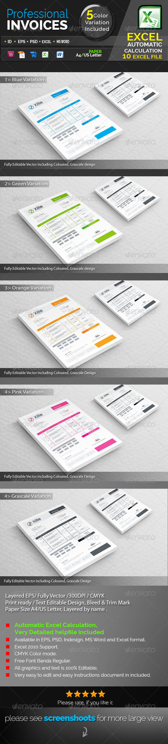 GraphicRiver Xillie Corporate Invoices 7567132